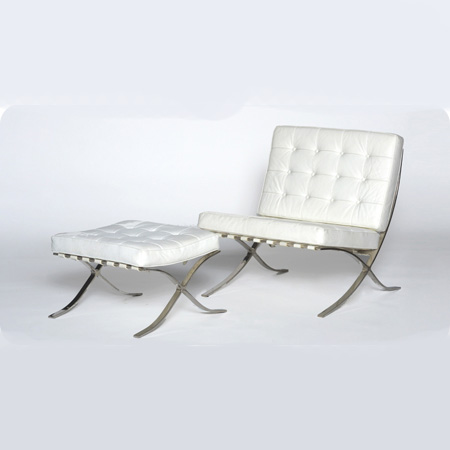 Incredible Barcelona White Chair Ottoman Swift Company Caraccident5 Cool Chair Designs And Ideas Caraccident5Info