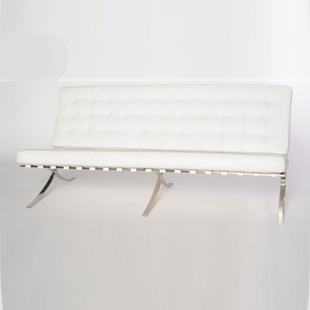 Barcelona White Leather Couch Swift Company