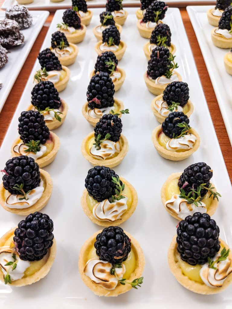 Swift + Co Catering Meyer Lemon Tarts with limoncello blackberries