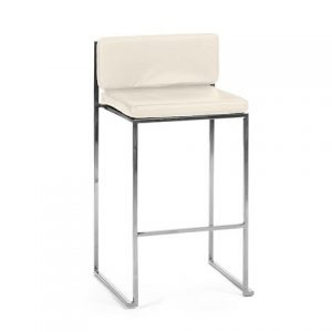 Paramount Barstool in Stainless with White Cushion