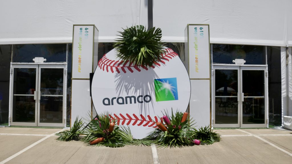Swift + Company custom event decor - baseball backdrop