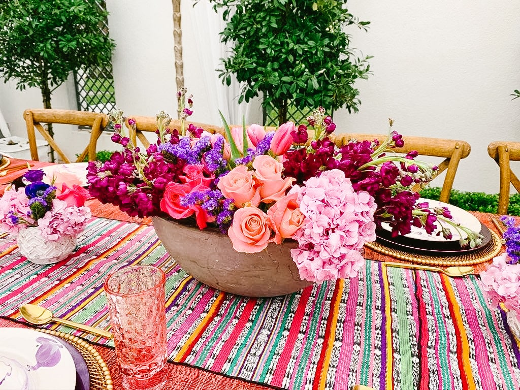 Swift + Company - Houston Event and Wedding Florist - Colorful Table Floral Arrangement